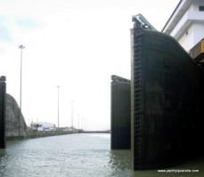 Double lock gates at exit to Gatun Lake