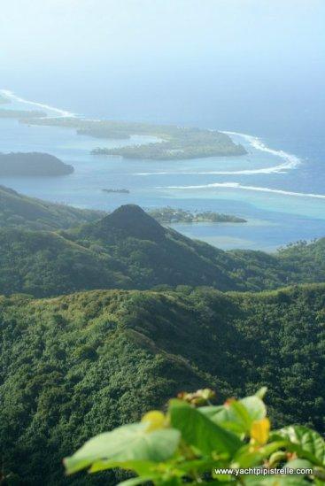 Summit view .... lagoon, motu and reef