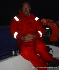 Bob night sailing on Azrar III - August 2004