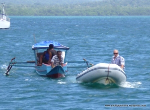 'Solar' delivery by local boat, towed by Bob after engine failure ...