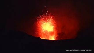 Volcanic fireworks at Mount Yasur, Tanna