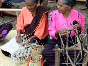 Threading cotton onto winder (right)