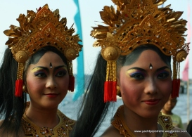 Elaborate headdresses in Bali