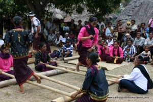 Hop-scotch Indonesian style with moving bamboo canes