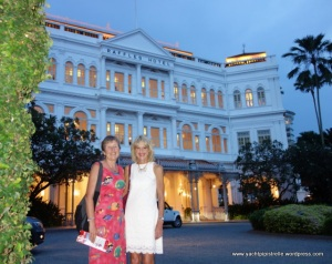 The girls outside Raffles