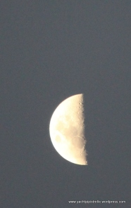 ... and half moon (15 minutes after sunset)