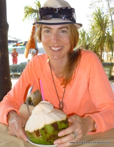 Gemma enjoying fresh coconut