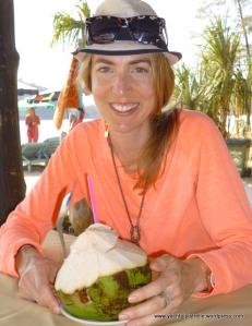 Gemma enjoying fresh coconut