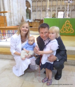 Reuben James Riddell with parents Annie and Andy and sister Florence