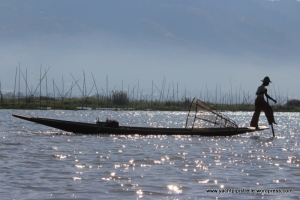 Typical fishing boat and net on Inle Lake, Myanmar - Dec 2014