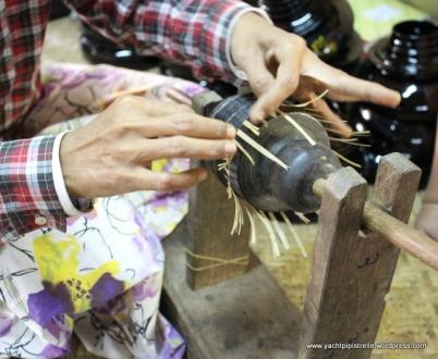Weaving single strands of horsehair (mane) between bamboo to make bowl