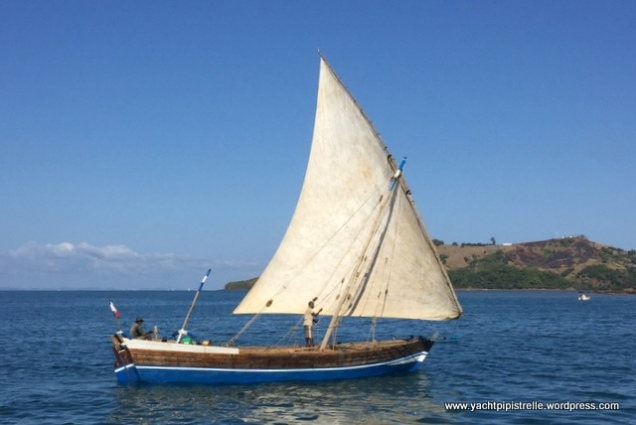 Typical Malagasy dhow under sail