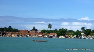 Passing riverside village