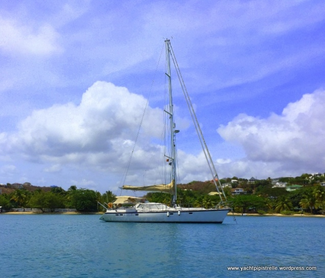 At anchor in Prickly Bay - April 2016