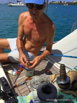 Deck winch for halyards