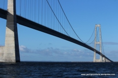 Part of 18km Storebælt Suspension Bridge linking east and west Denmark