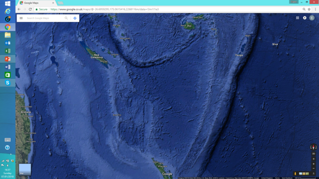 Satellite map - NZ bottom centre, Tonga top right, Fiji top off centre