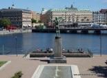 Statue overlooking city