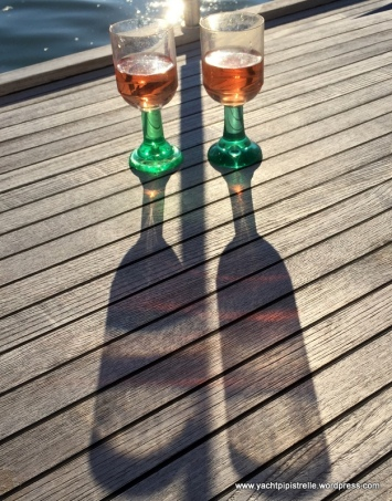 Evening aperitifs on the foredeck