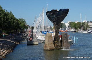 Marina and whale sculpture