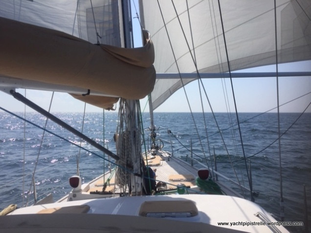 Comfortable, balanced sailing off Norderney - genoa poled out