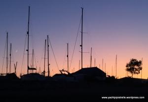 Hamble Point Marina after sunset